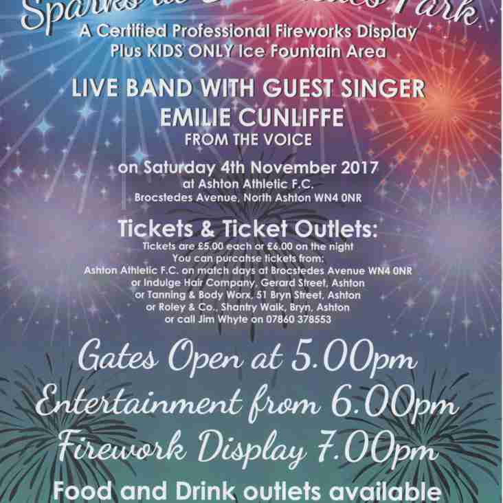 Tickets £5 or £6 on the night for Bonfire Spectacular 4th Dec