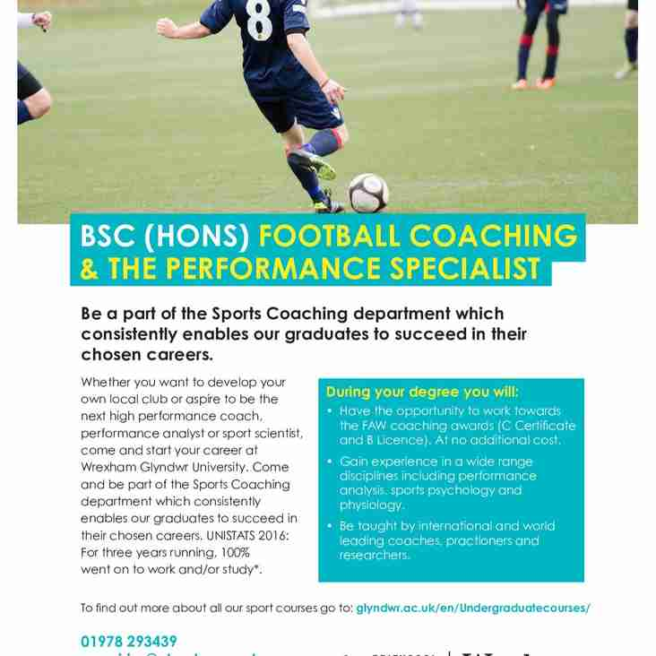 ARE YOU INTERESTED IN A FOOTBALL COACHING AND PERFORMANCE DEGREE ?