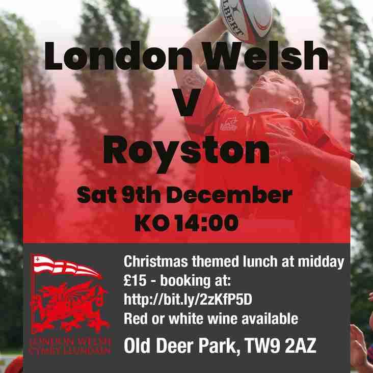 December 9th - Next Home Game at Old Deer Park