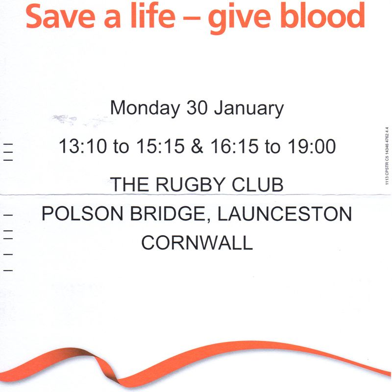 BLOOD DONATION SERVICE AT LAUNCESTON RUGBY CLUB 30TH JANUARY