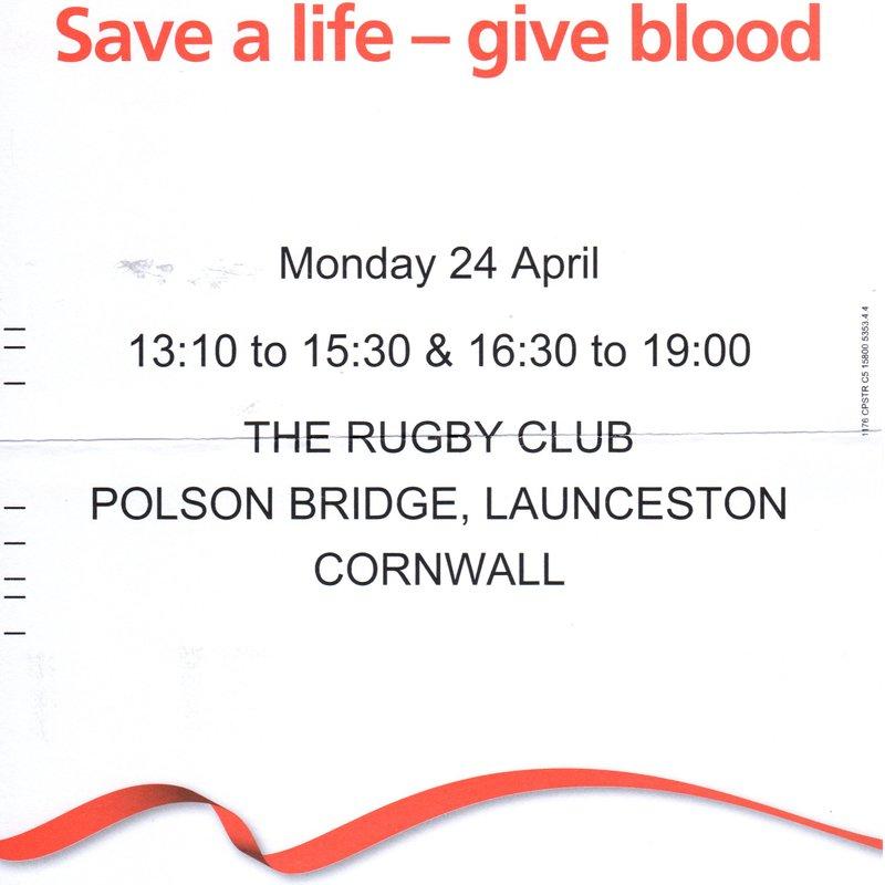BLOOD DONATION SESSION MONDAY 24TH APRIL