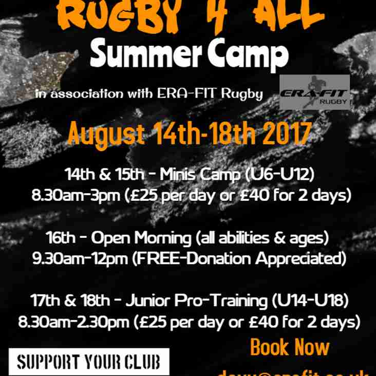 RUGBY 4 ALL - Summer Camp at Launceston Rugby Club