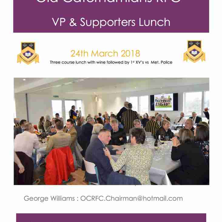 OCRFC VP & SPPORTERS LUNCH - 24th March