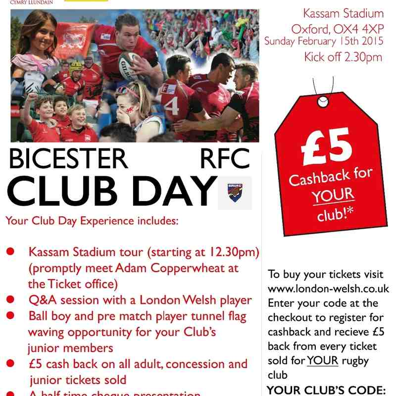 Bicester rugby club Day at London Welsh