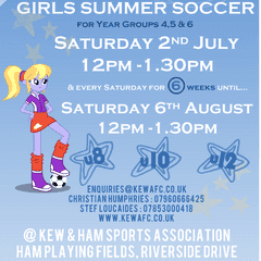Girls Summer Football School coming to Kew and Ham Sports Assocation