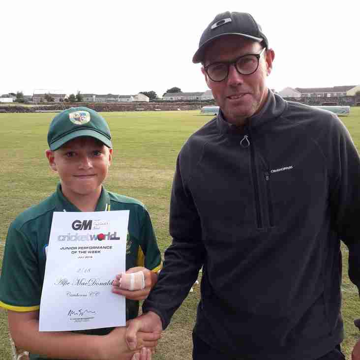 Cricket_World  junior performance of the week