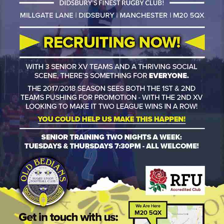 Old Bedians are RECRUITING NOW! Get fit and have #fun playing #rugby #Didsbury