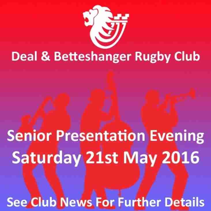 2015/16 Senior Presentation Evening - Saturday 21st May