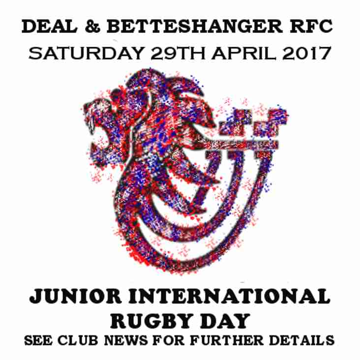 Saturday 29th April - Junior International Rugby Day