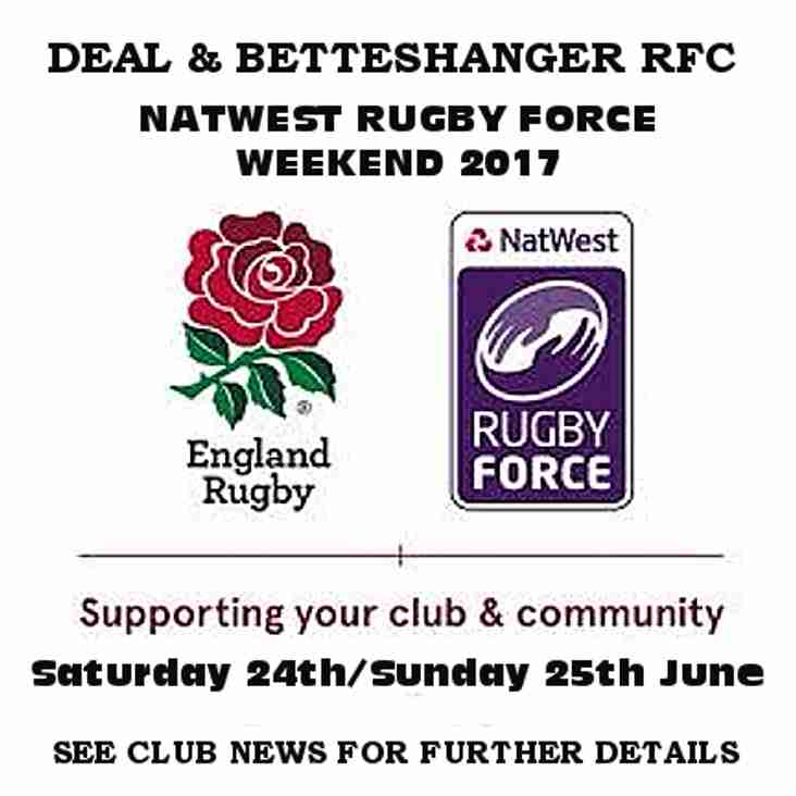 Natwest Rugby Force - This Saturday - Catering Requirements