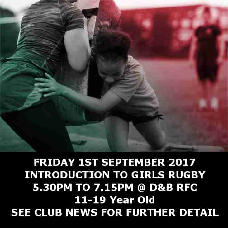 Friday 1st September - Introduction to Girls Rugby