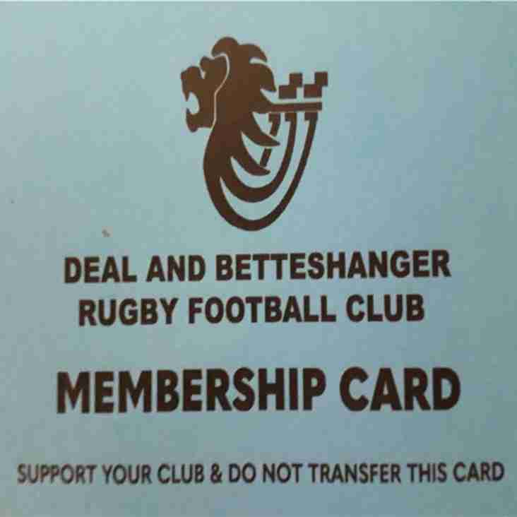 D&B RFC Membership 2018-2019 Season
