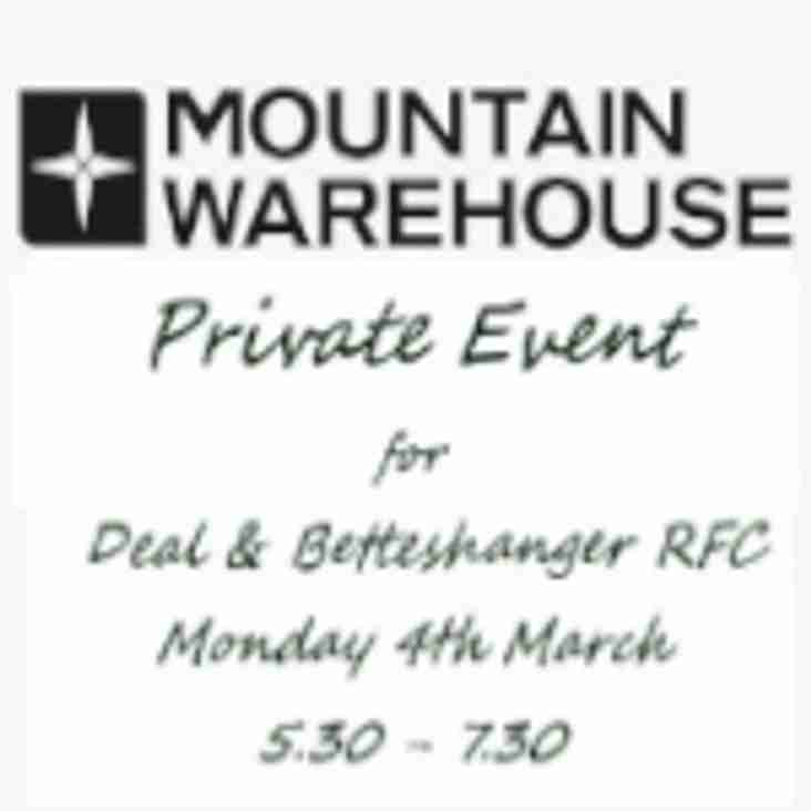 Monday 4th March - Mountain Warehouse Private event for D&B RFC Lions
