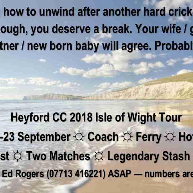 Heyford CC 2018 Tour Destination Announced!