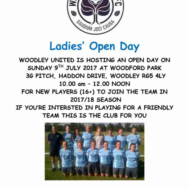 Ladies to hold an open day on Sunday 9th July 2017