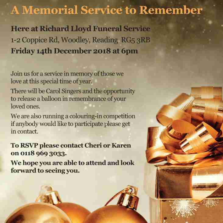 Memorial Service to Remember - Friday 14th December 2018