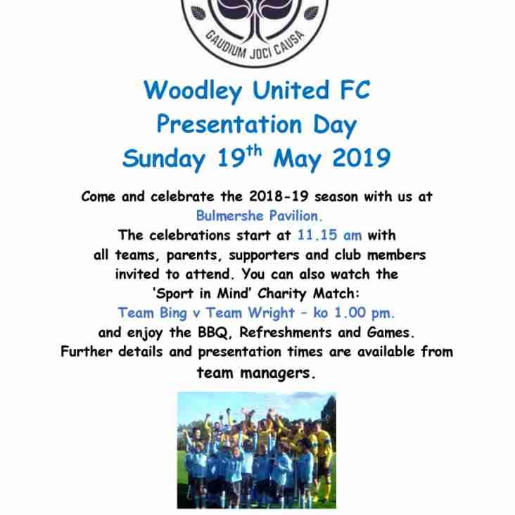 Woodley United FC Presentation Day - Sunday 19th May 2019