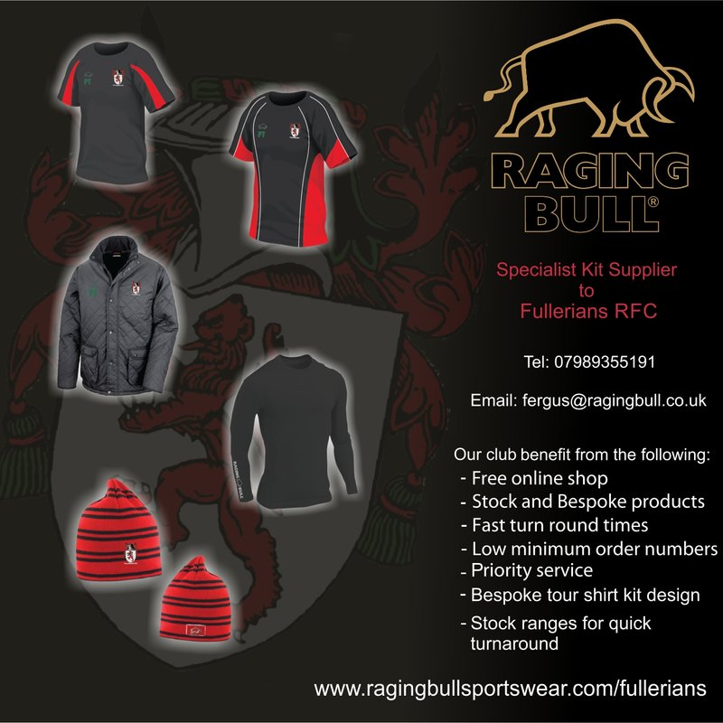 New Official Fullers Sports & Leisurewear Shop from Raging Bull