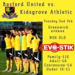 Next up for Basford home v  Kidsgrove Athletic Tues 7.45pm ko