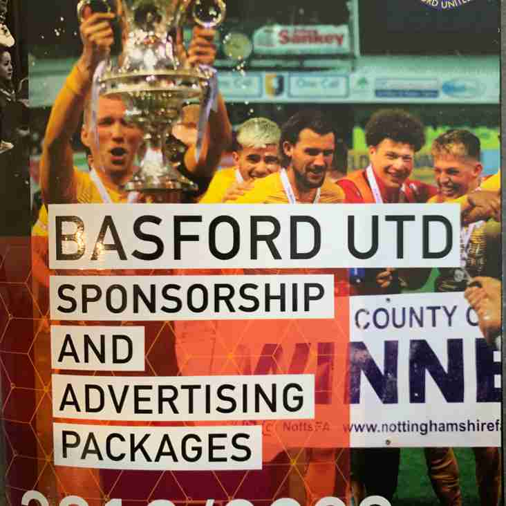 Basford Utd delighted to announce Sponsorship packages for 2019-20