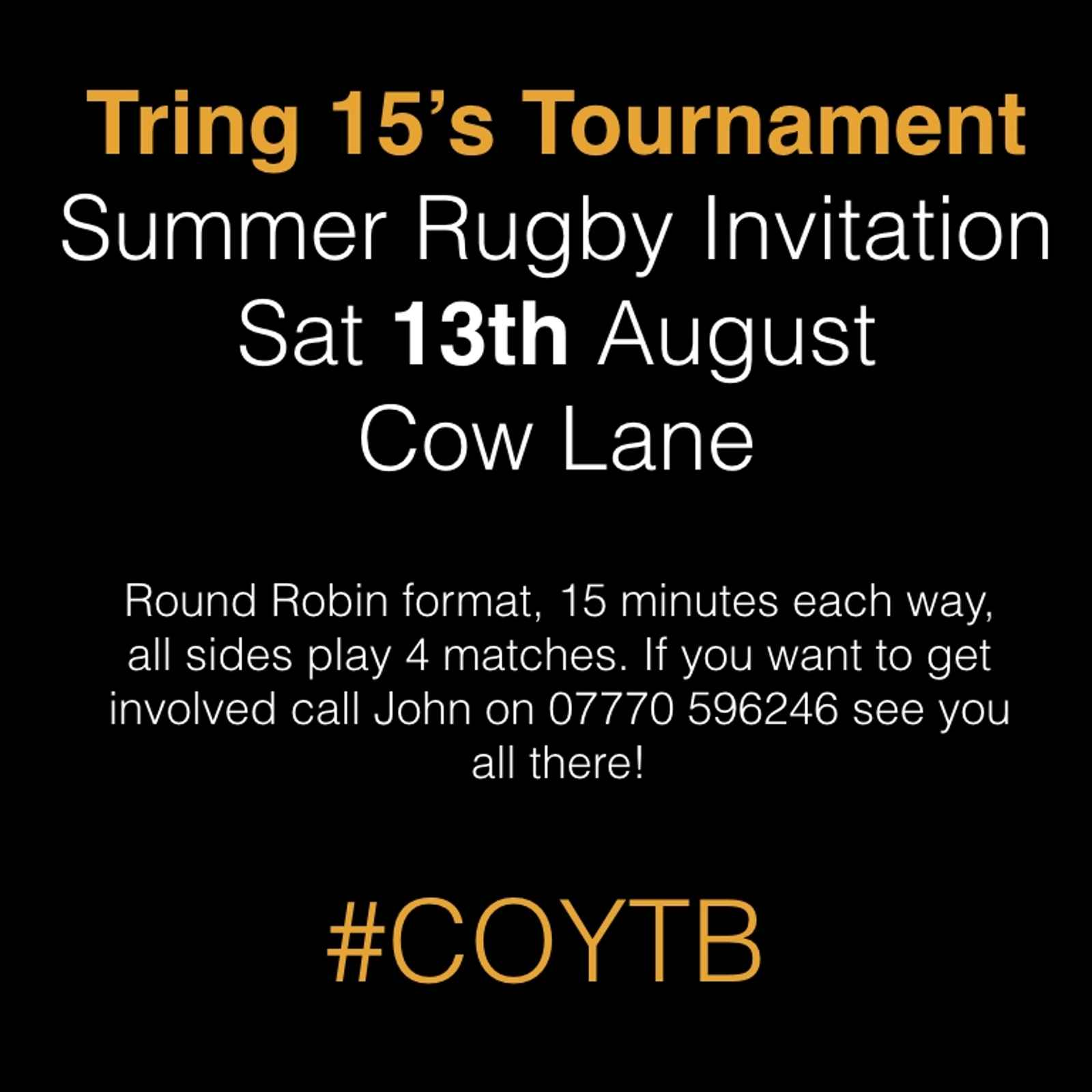 Tring 15's Summer tournament is on! - Saturday August 13th 2016