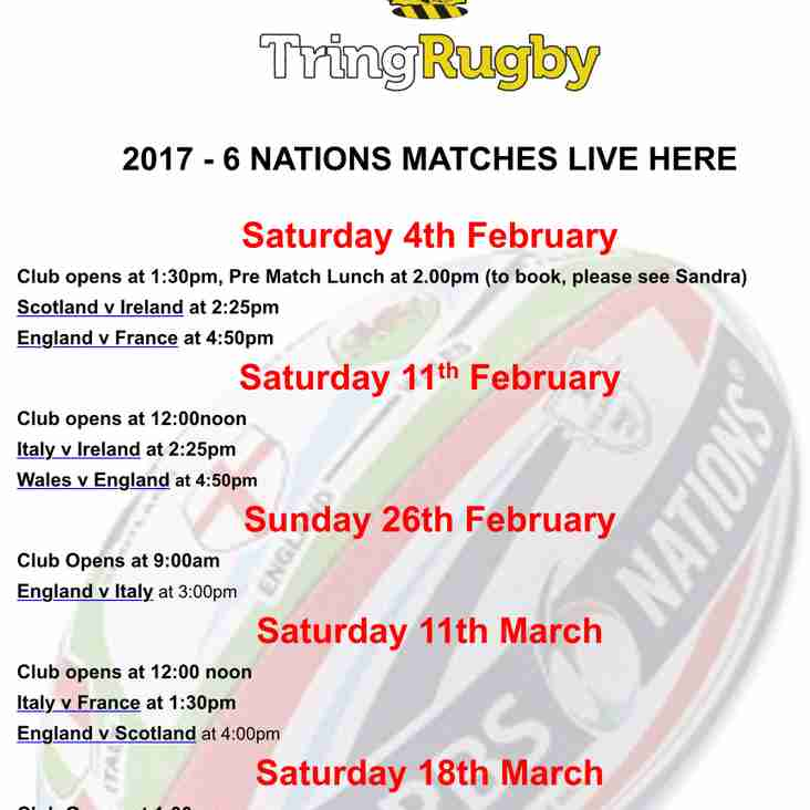 Six Nations screened live at Cow Lane