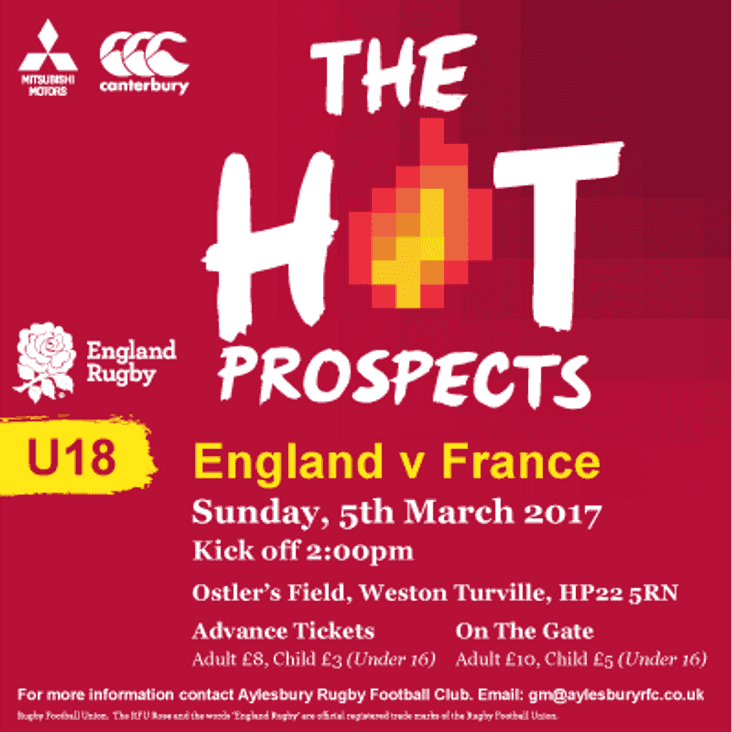 England v France under 18 international - your chance to watch local!