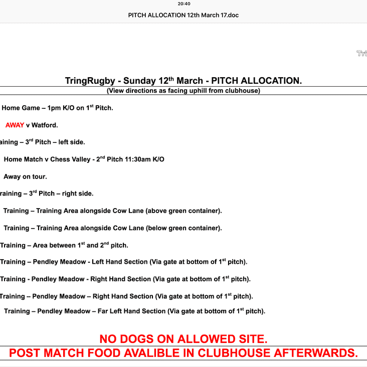 Pitch allocations and timings for the M&J on Sunday 12th March
