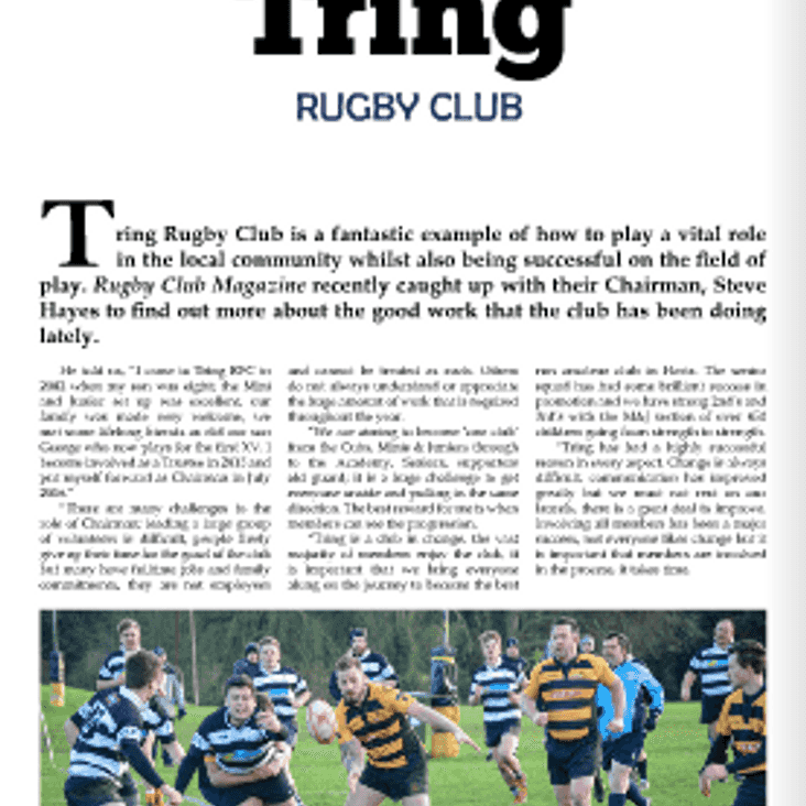 Tring features in Rugby Club magazine