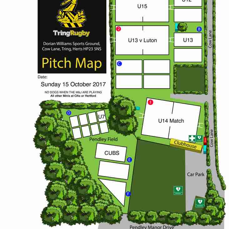Pitch Allocations for Sunday 15th October