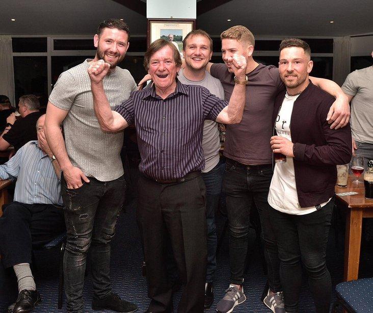 Five star: Harry Williams,  keeper Sam Ashton, physio Matt Booth, goalkeeping coach Rob Sadler and midfielder Tom Brooks