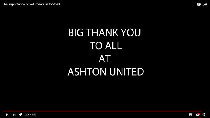 Appreciated: Ashton United's message to volunteers