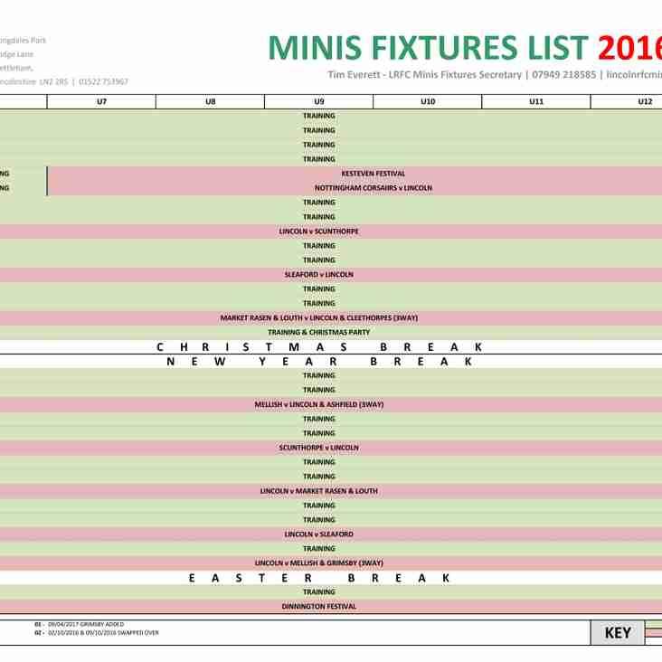 LRFC MINIS FIXTURES 2016 - 2017