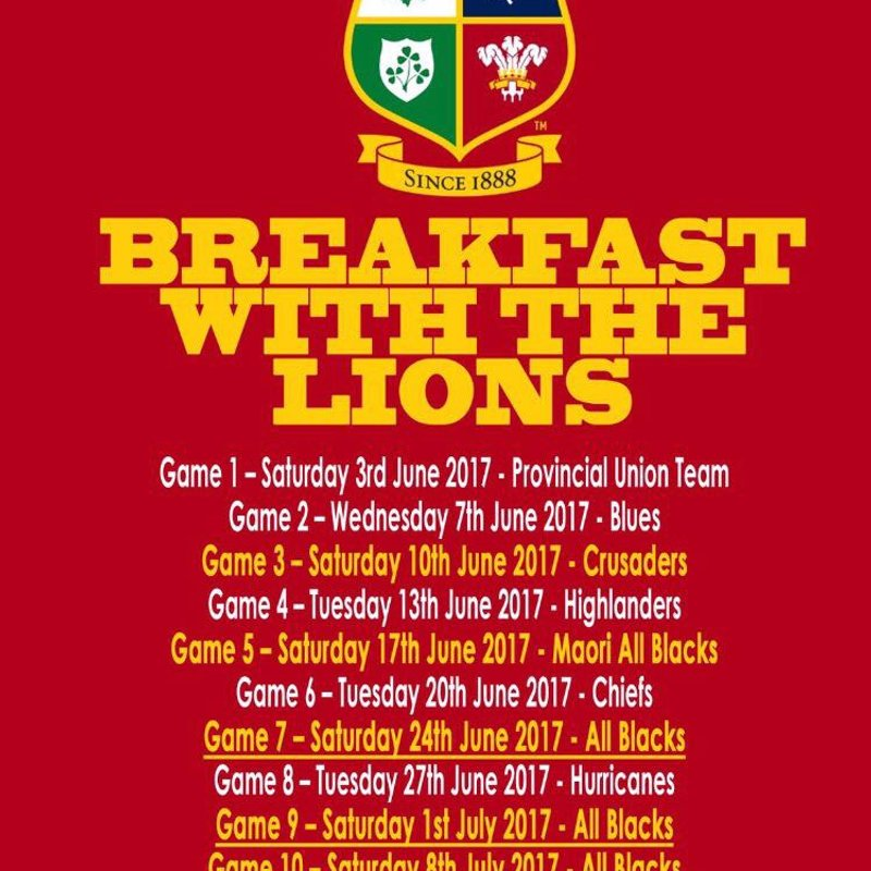 Breakfast with the Lions Continues @ TRFC!