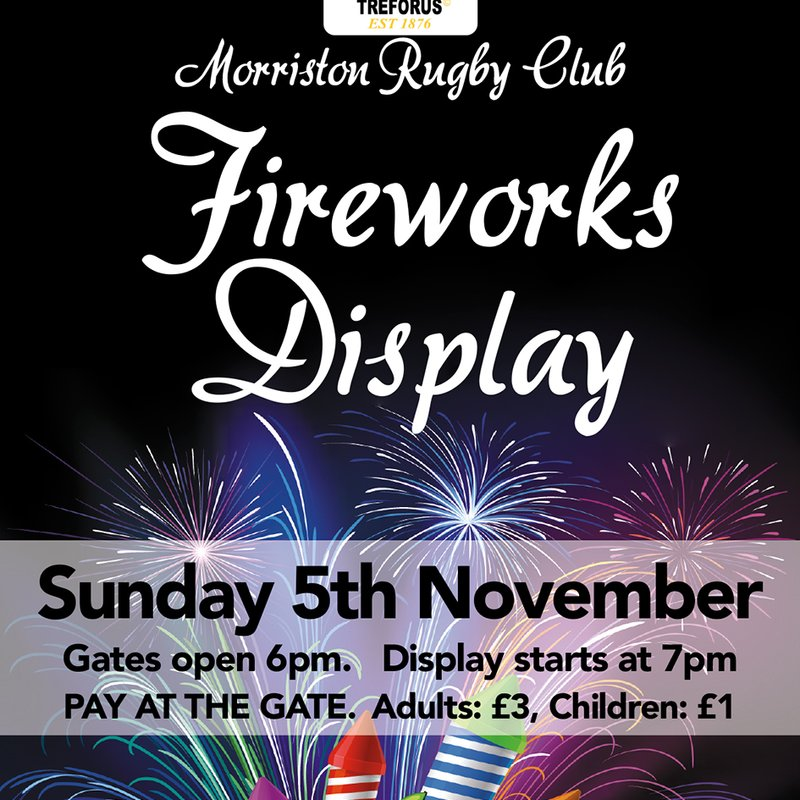Fireworks Night |  Sunday 5th November | Gates open 6pm. Display starts7 pm