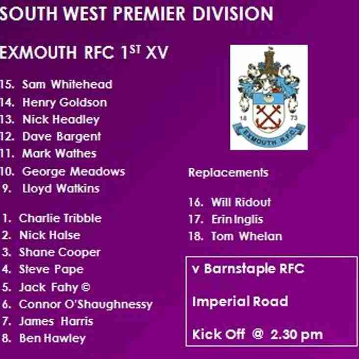 1st XV v Barnstaple RFC