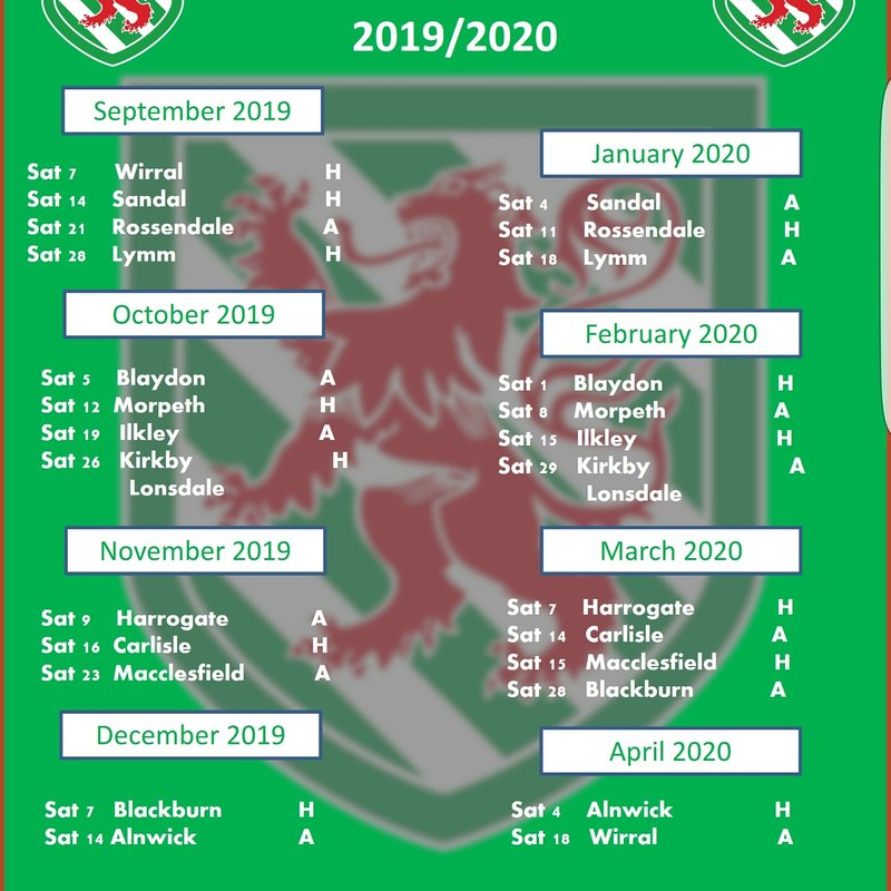 2019/2020 Fixtures Released... click to find out more