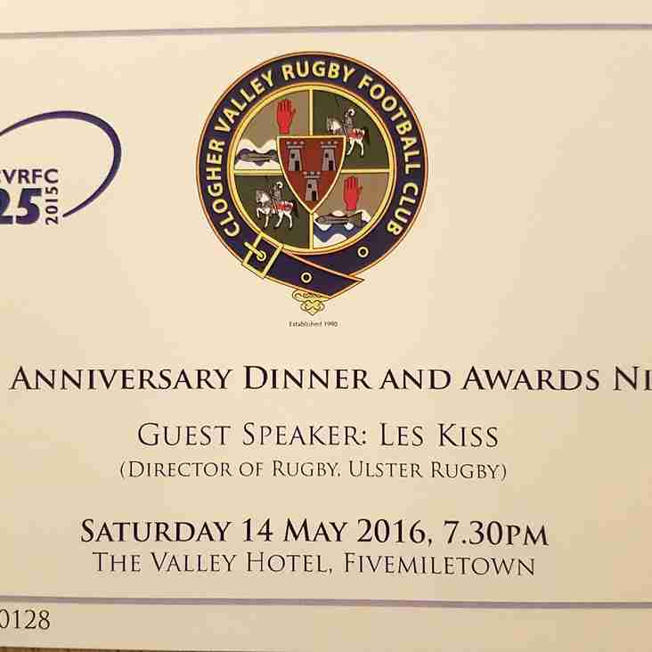 25th Club Dinner - Tickets available