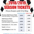 2018-19 Season Tickets - Prices frozen for early birds