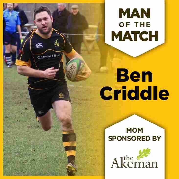 Ben Criddle named The Akeman MOM v Tunbridge Wells
