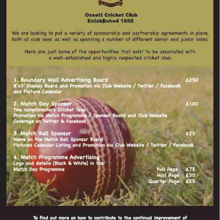 Sponsorship Opportunities at Ossett CC 2016 Season