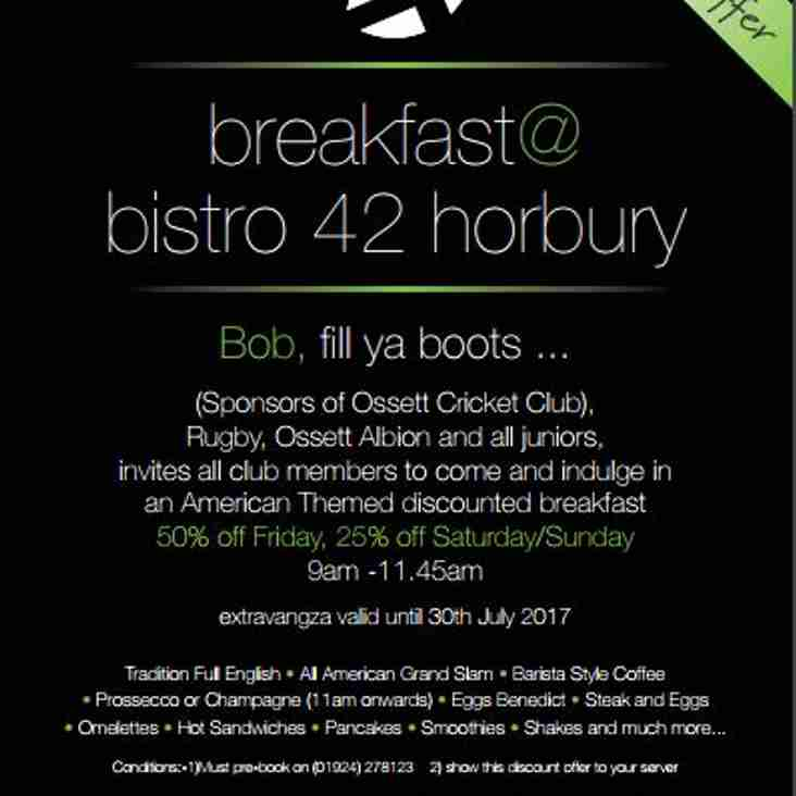 Ossett CC & AC Members Breakfast Offer bistro-42 Horbury