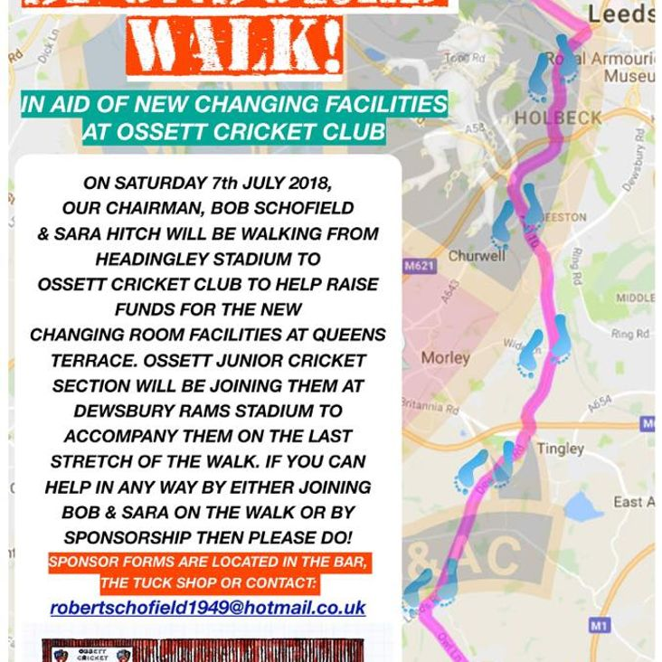 Sponsored Walk to Raise Funds for new Changing Rooms<
