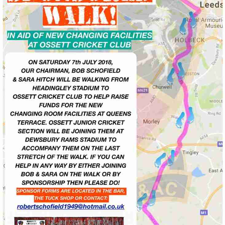 Sponsored Walk to Raise Funds for new Changing Rooms