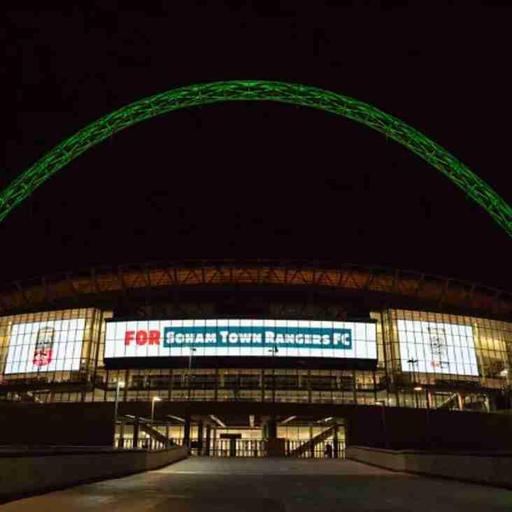 Wembley Stadium Lights Up For Soham Town Rangers