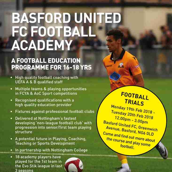 Basford Academy football trials 19 - 20 February 2018