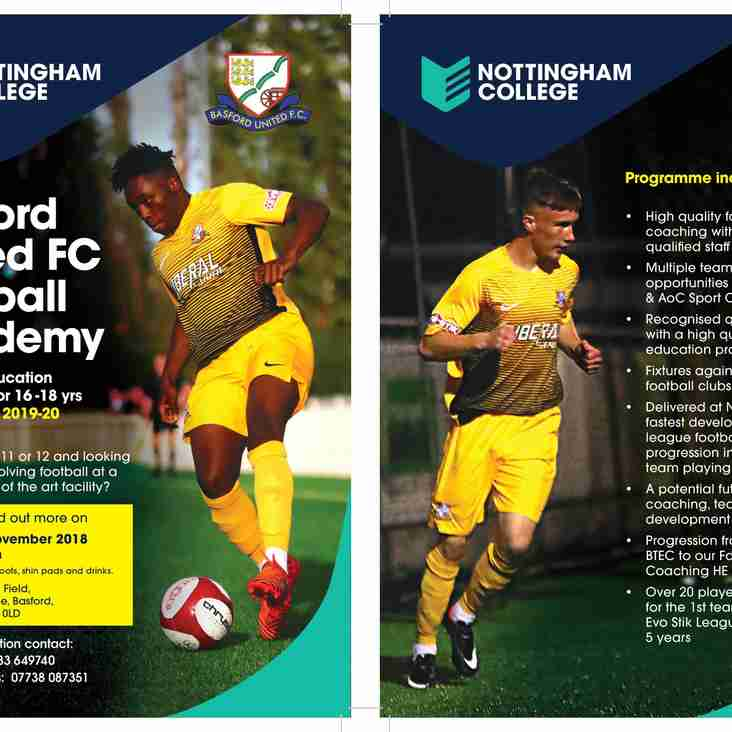 Basford Academy trials -  Friday 2 November 1.30 - 3.30