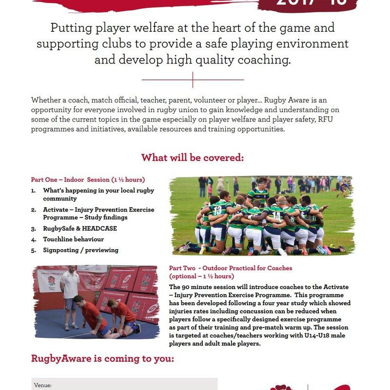 Rugby Aware Workshop