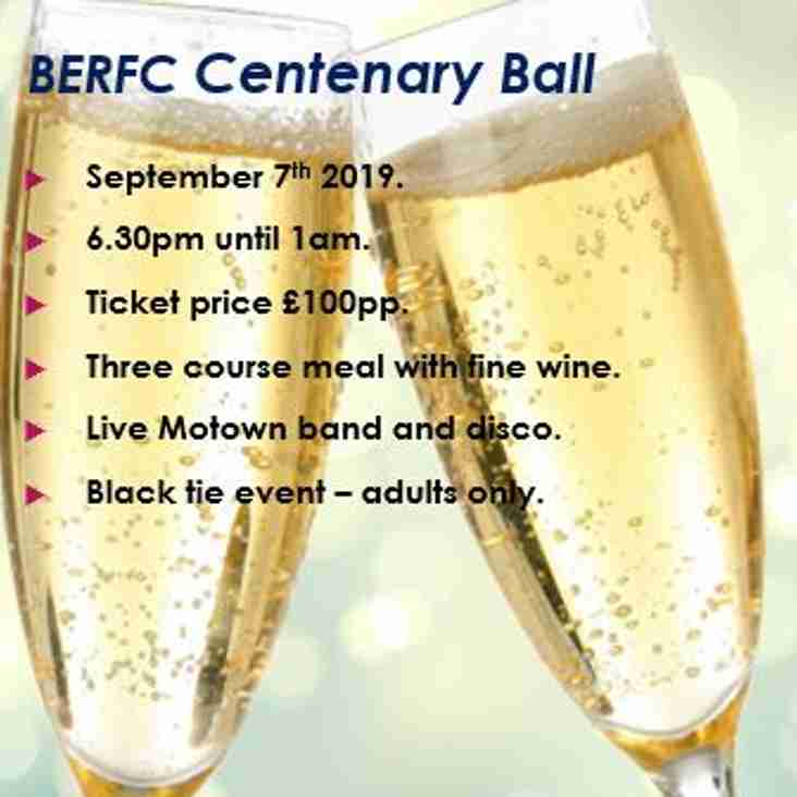 Sept 7th - BERFC Centenary Ball 2019