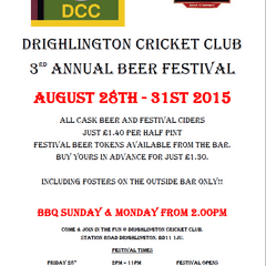 Beer Festival Friday 28th to Monday 31st August